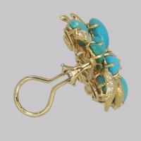 Vintage Julius Cohen Cluster Earrings Turquoise & Diamond 1960s Flower Earrings (7 of 12)