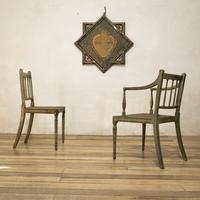 Charming Near Pair of Regency Green Painted Occasional / Elbow Chairs (10 of 14)
