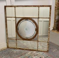 Large 19th Century Industrial Window Mirror with Central Leaded Bottle Glass Opening (6 of 8)