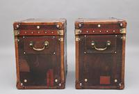 Pair of Early 20th Century Leather Bound & Painted ex Army Trunks (7 of 10)