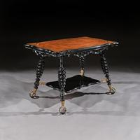 Merklen Bros 19th Century Ebonised Leather Table (5 of 6)