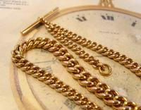 Victorian Pocket Watch Chain 1890s Antique Large 14ct Rose Gold Filled Albert With T Bar (9 of 11)