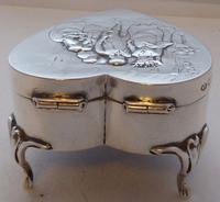 Rare Large 1904 Hallmarked Solid Silver Love Heart Pill Earring Jewellery Box (10 of 13)