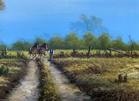Original 1960s Vintage Antique Country Equestrian Farming Landscape Oil Painting (5 of 11)