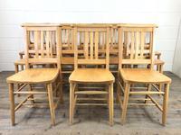 Set of Twelve Vintage Beech Chapel Chairs (3 of 15)