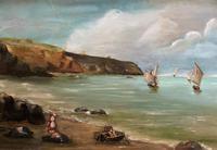 Original Antique 19th Century British Coastal Seascape Oil on Board Painting (3 of 10)