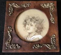 Antique Leather & Brass Photo Frame (3 of 3)