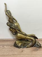 Art Deco French Signed Gilt Bronze 2 Female Nude Mermaids Swimming Statue c.1930 (30 of 41)