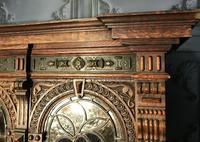 Victorian Carved Oak Secretaire Bookcase (8 of 25)