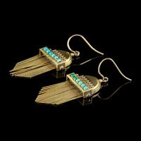 Antique Victorian Etruscan Revival Turquoise Fringe Earrings 18ct Gold c.1860 (3 of 5)