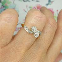 Antique Edwardian 18ct Old mine cut Diamond two stone engagement ring c.1910 (10 of 10)