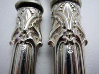 Ornate Antique Victorian Solid Sterling Silver Fish Servers, Serving Knife+Fork, English Hallmarked (2 of 11)
