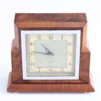 Smiths Art Deco Burr Walnut Cased 8-Day Mantle Clock c1935 (6 of 9)