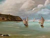 Original Antique 19th Century British Coastal Seascape Oil on Board Painting (6 of 10)
