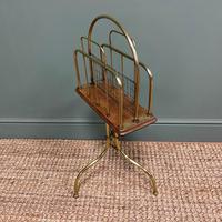 Antique Edwardian Brass & Oak Revolving Book Stand (4 of 5)
