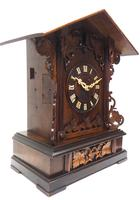 Rare Fusee Cuckoo Mantel Clock – German Black Forest Carved Bracket Clock (4 of 10)