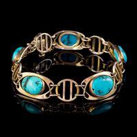Antique Victorian Art Nouveau Turquoise Matrix Bracelet 9ct Gold Murrle Bennett Circa 1900 (2 of 7)