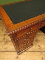 Handsome Antique Pedestal Desk with New Black Leather to Top (16 of 21)