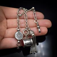 Antique Victorian Sterling Silver Albertina Albert Watch Chain Bracelet with Tassel and Drum Charm (2 of 14)