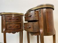 French Marquetry Bedside Tables Oval Cabinets with Marble Tops (10 of 12)
