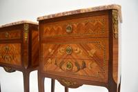 Pair of Antique French Inlaid Marble Top Bedside Chests (4 of 12)