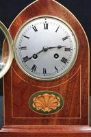 French Belle Epoque Mahogany & Inlaid Mantel Clock (6 of 7)