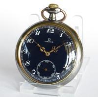 Antique Omega Pocket Watch, Rare Blue Dial