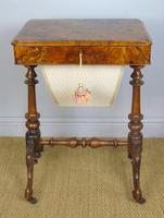 Beautiful Victorian Burr Walnut Sewing Table (2 of 8)