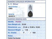 23.20ct Peridot & 1.38ct Diamond, Platinum Pendant - Vintage c.1945 (7 of 9)