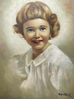 """20th Century Oil Painting Portrait Girl With Curly Hair """"The Happy Smile"""" (3 of 19)"""