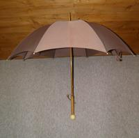 Antique Fawn Coloured Canopy Umbrella With Billiard Inspired Ball Handle