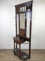 Antique Edwardian Mahogany Mirror Hall Stand (3 of 9)