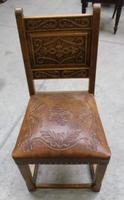 1900's French Oak Refectory Table with Set 6 Oak Chairs +Leather Embossed Seats. (8 of 9)