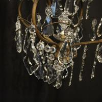 French Gilded Crystal Birdcage 5 Light Antique Chandelier (8 of 10)