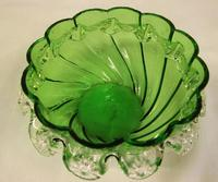 Antique Victorian Green Glass Frilled Bowl (6 of 6)