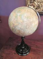 "Antique 8"" Paper Mache Terrestrial Globe (7 of 8)"
