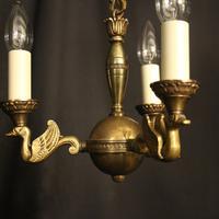 French Gilded Brass Empire 3 Light Chandelier (2 of 10)