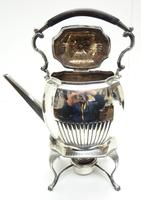 English Victorian Antique Solid Silver Spirit Kettle with Original Silver Burner c.1900 (3 of 9)