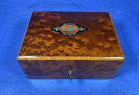 Victorian  French Burr Cedar Jewellery Box with Original Interior (6 of 9)