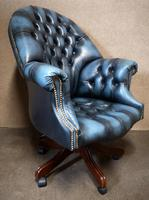 Directors Blue Leather Chesterfield Captains Office Chair (11 of 12)