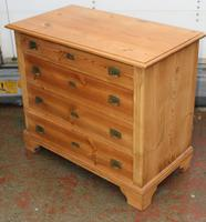 1920s Pine Chest Drawers with Brass Handles (3 of 4)