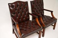 Pair of Antique  Deep  Buttoned Leather Library Armchairs (8 of 12)