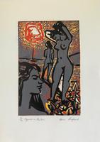 original screen print 'Figures in the sun' by Toby Horne Shepherd 1909-1993. Signed and number 10/20 c.1965