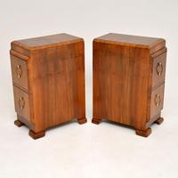 Pair of Art Deco Figured Walnut Bedside Chests (6 of 10)