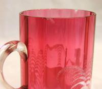 Antique 1900 Mary Gregory Cranberry Glass Mug (5 of 6)