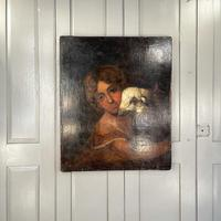 Antique Continental Oil Painting Portrait Study of Child and Sheep Lamb