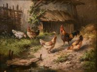 """Oil Painting by Louis Marie Lemaire """"Chickens in a Farmyard"""" (3 of 9)"""