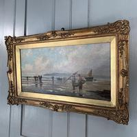 Antique marine seascape oil painting of fishing scene signed W Richards 2 of 2 (4 of 10)