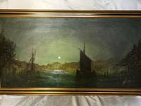 "Dutch Impressionist Oil Painting ""Amsterdam Shipping by Moonlight Illumination"" (2 of 12)"