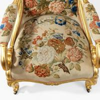 Pair of High Victorian Giltwood & Needlework Armchairs by Gillows (13 of 15)
